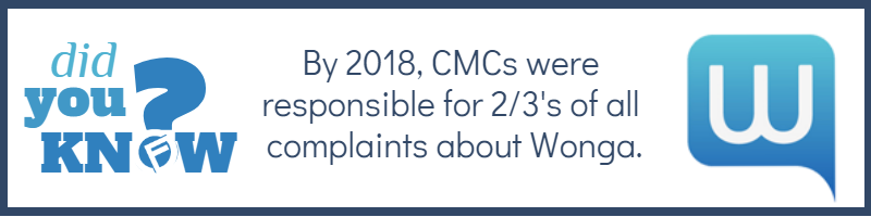 By 2018, CMCs were responsible for 2/3's of all complaints about Wonga. - Cashfloat consumer credit under threat