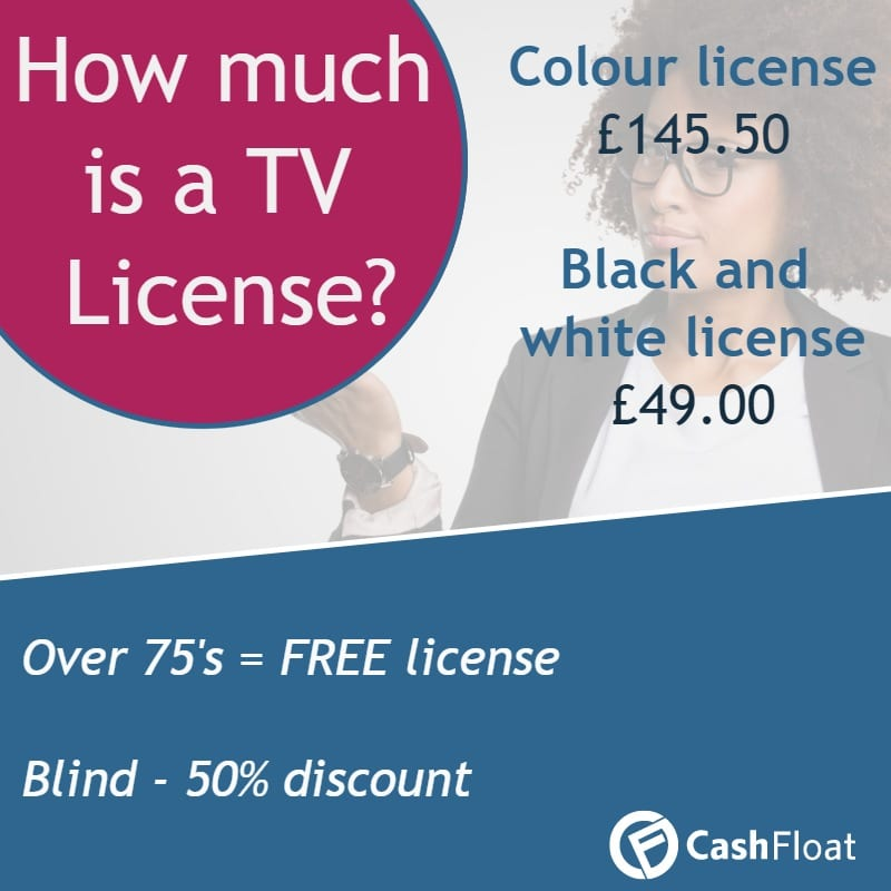 A TV license costs £145.50 for colour and £49 for black and white - Cashfloat